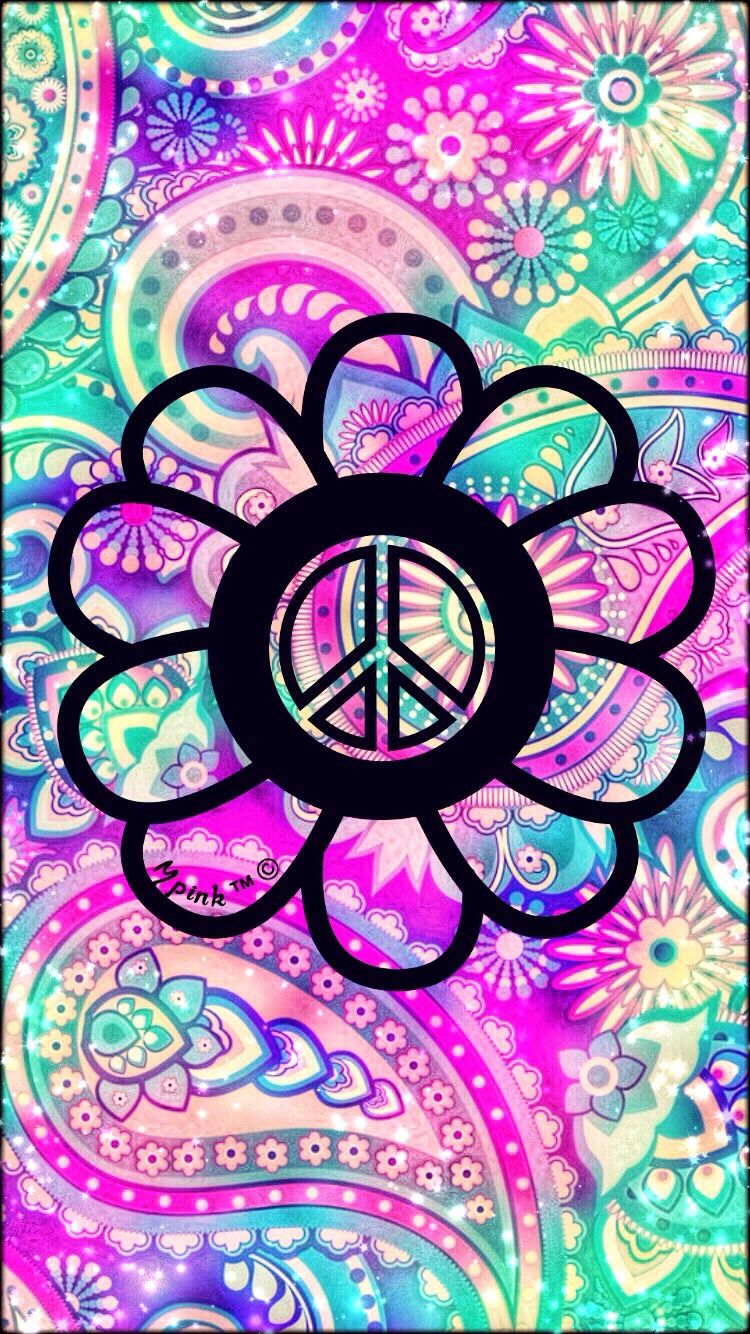 Peace Symbol ☮ Hipster phone wallpaper, Hippie art