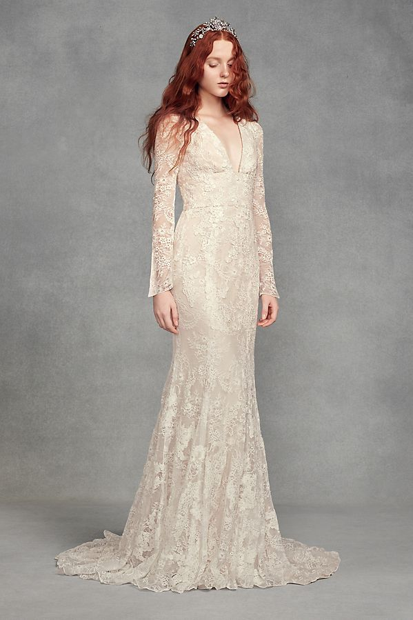 White By Vera Wang Bell Sleeve Lace Wedding Dress Style Vw351428