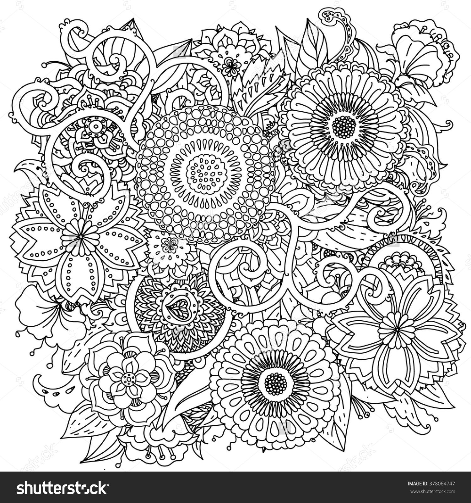 Floral ornament. Art mandala style. Black and white background ...