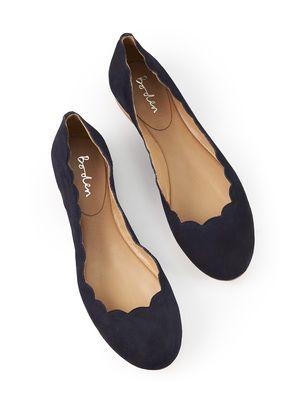 Boden Scallop Edge Ballerina Flat Navy Shoes Shoes
