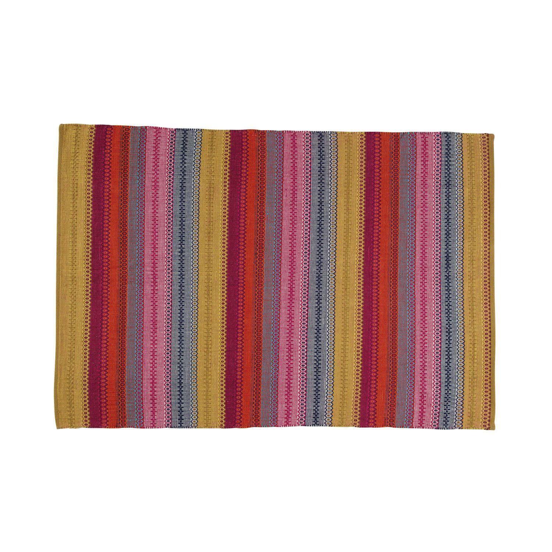 Flechtteppich Aus Baumwolle 230 X 160 Cm Bunt Geflochtener Teppich Teppich Gewobener Teppich