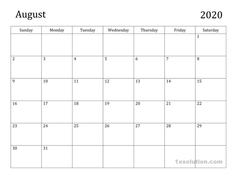 Free Printable August 2020 Calendar Excel Sheet Calendar In 2020 Excel Calendar Calendar Excel