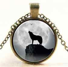Unique Jewelry - Vintage Wolf Cabochon Tibetan silver Glass Chain Pendant Necklace NEW
