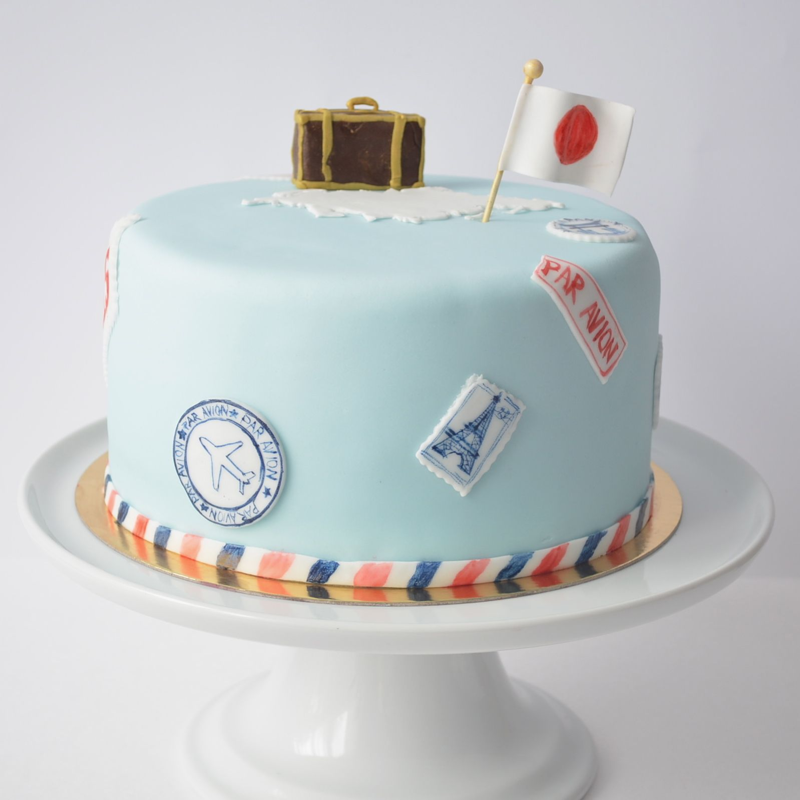 Travel Themed Wedding Cake Blue