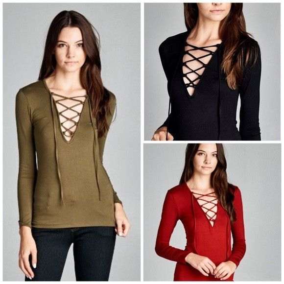 19409fc144 Sexy Lace Up Long Sleeve Top in Black