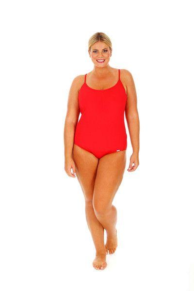 c050c3a5fdb Chlorine Resistant Red Racer Back One Piece Swimsuit -  http   www.curvyswimwear