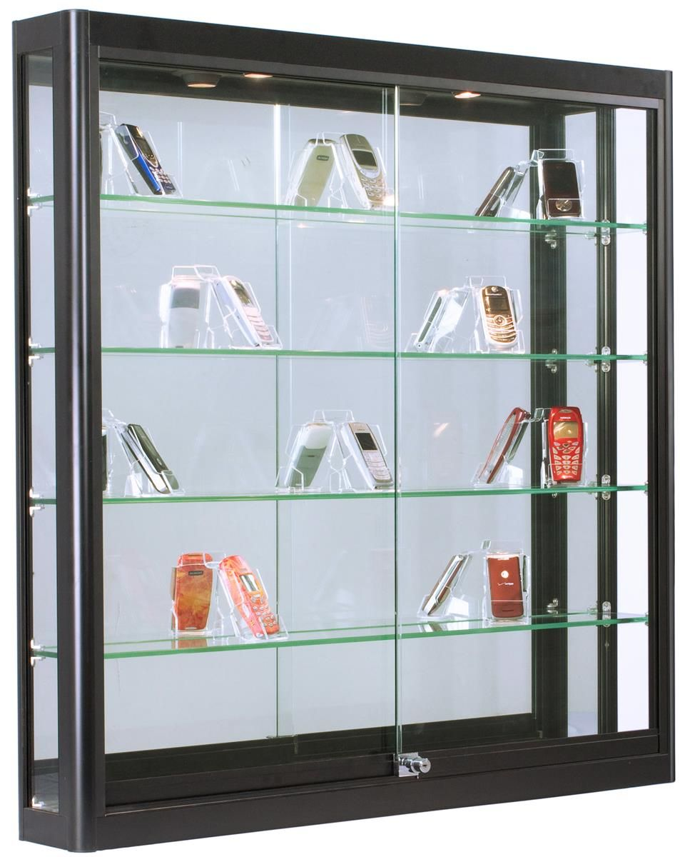 3x3 Wall Mounted Display Case W Mirror Back 2 Top Led Lights Locking Black Glass Cabinets Display Wall Mounted Display Case Wall Mounted Display Cabinets