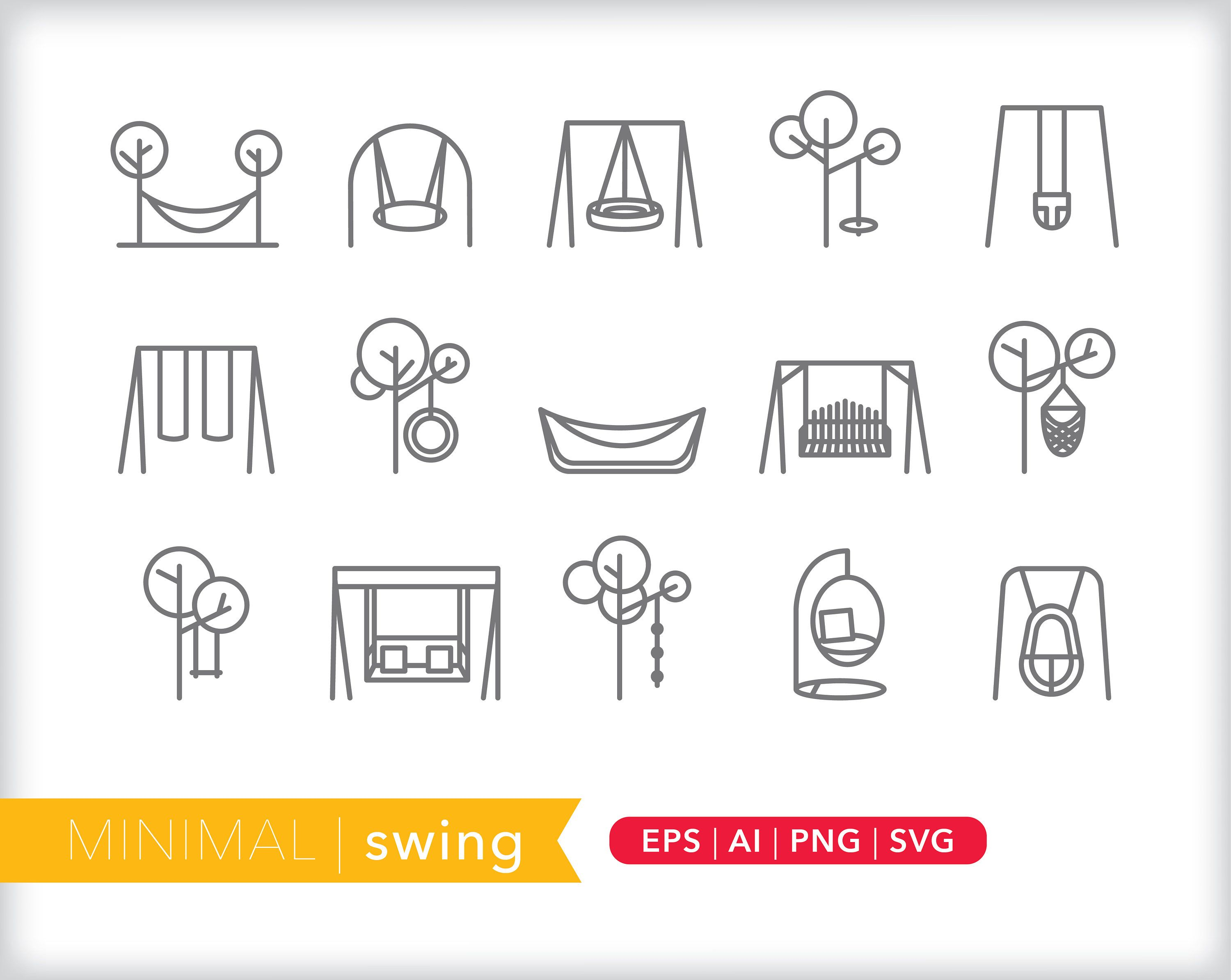 Swing Icons Park Icons Eps Ai Png Digital Download For Etsy Icon Parking Icon Cute Designs To Draw