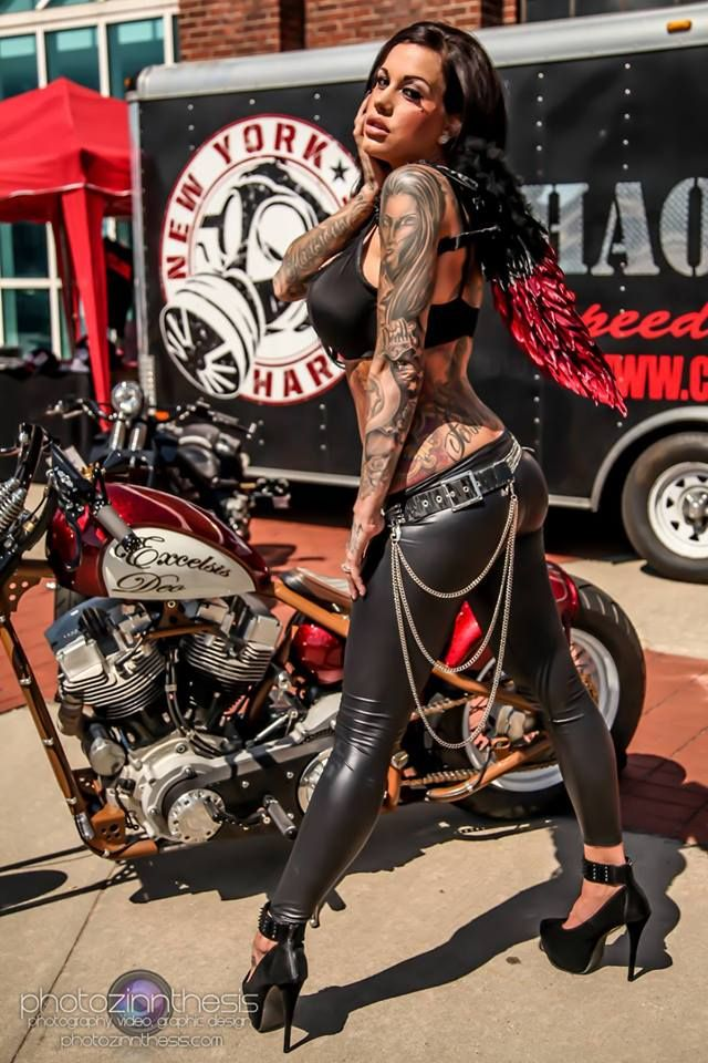 Sexy biker chick tattoo