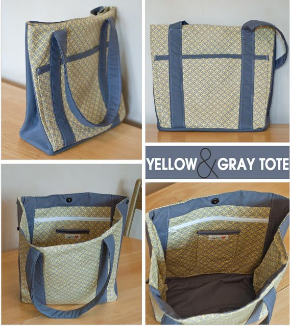 Yellow & Gray Tote Bag  