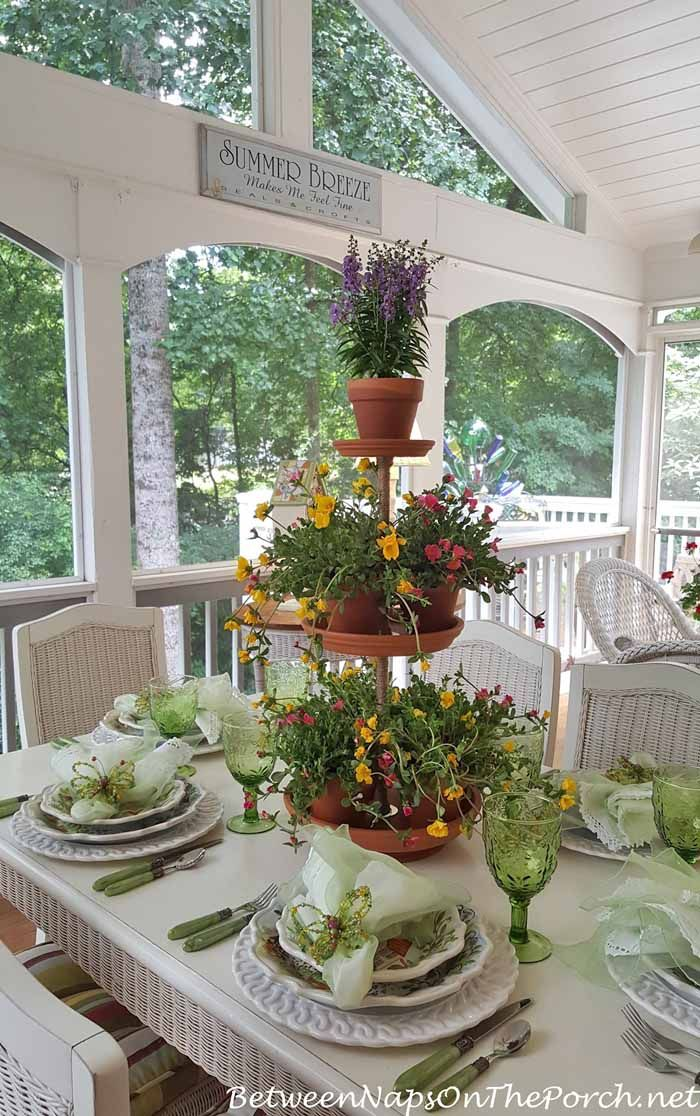 Springtime Table Setting with Ma Maison and a Tiered Planter Centerpiece how sweet is THIS! ty between naps on the porch! & Spring Table Setting with Ma Maison and a DIY Tiered Planter ...