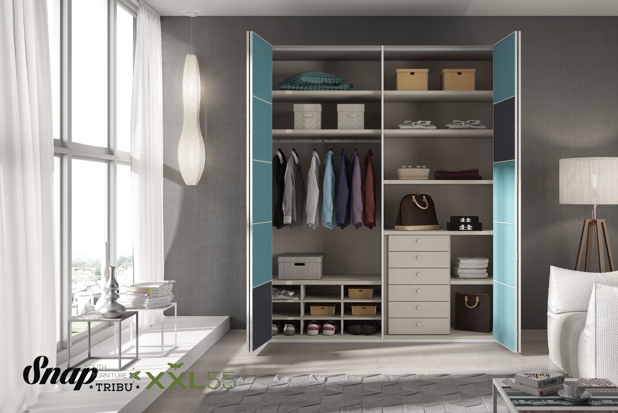 Tribu snap muebles hermida mueble juvenil xxl55 for Distribucion habitacion juvenil