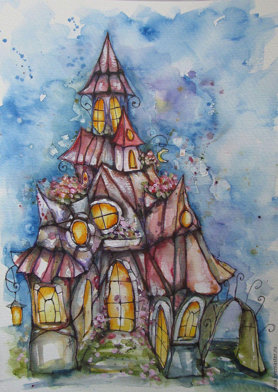 Замки рисунок акварелью