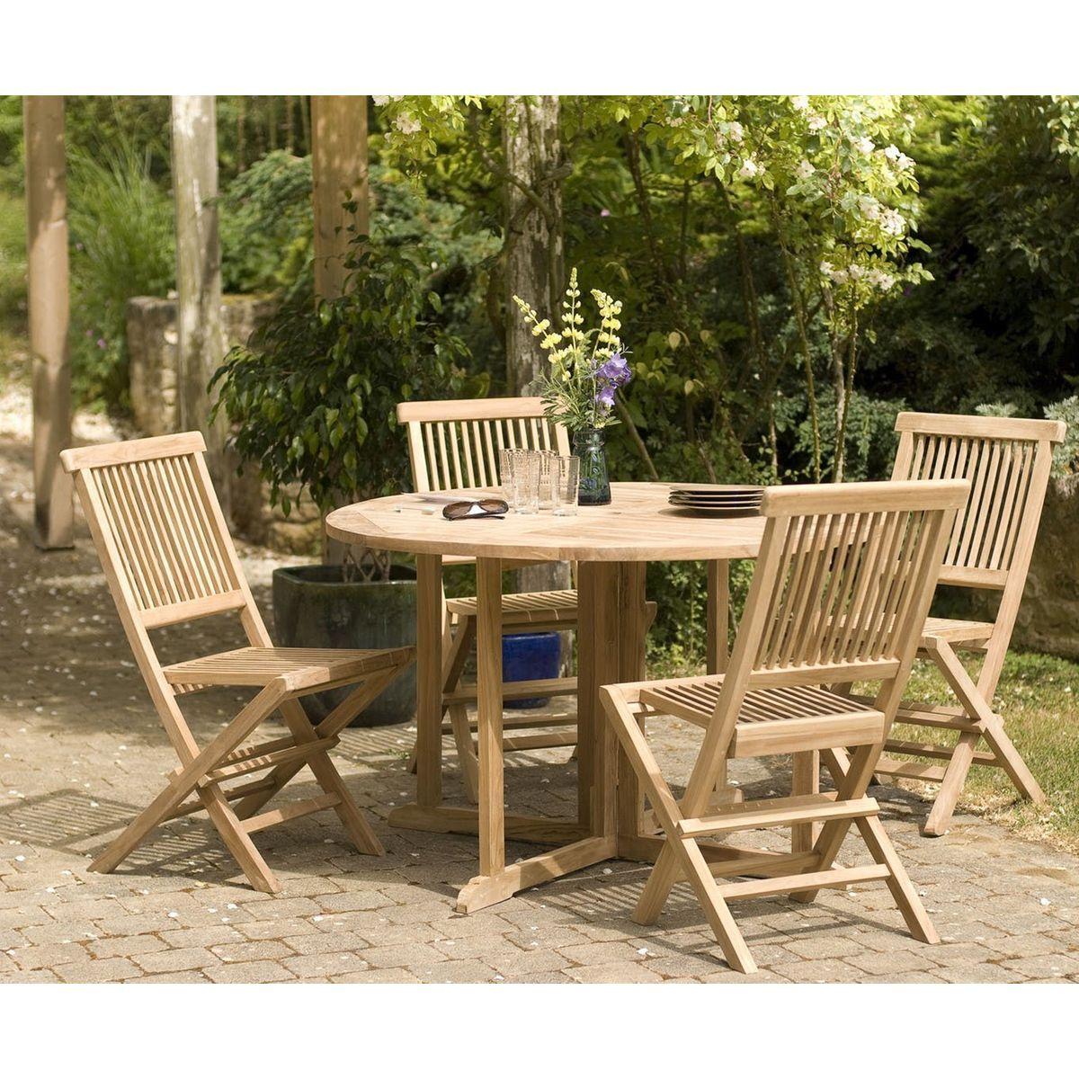 Table De Jardin En Teck Ronde Pliante Papillon 120cm Summer