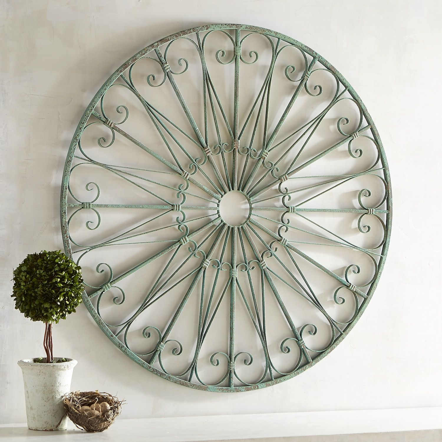 Scrolled Iron Round Wall Decor Turquoise