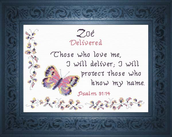Cross Stitch Zoe with a name meaning and a Bible verse Any name, any