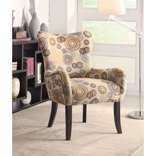 Coaster Plush Patterned Accent #ArmChair, Beige Circles @bestbuy9432