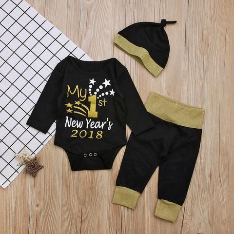 06f570976 2018 New Year My First Christmas Outfits For Baby Boy Girls Set Family  Clothes Kids Long Sleeve Romper+Pant+Hats 3Pcs Set Suits