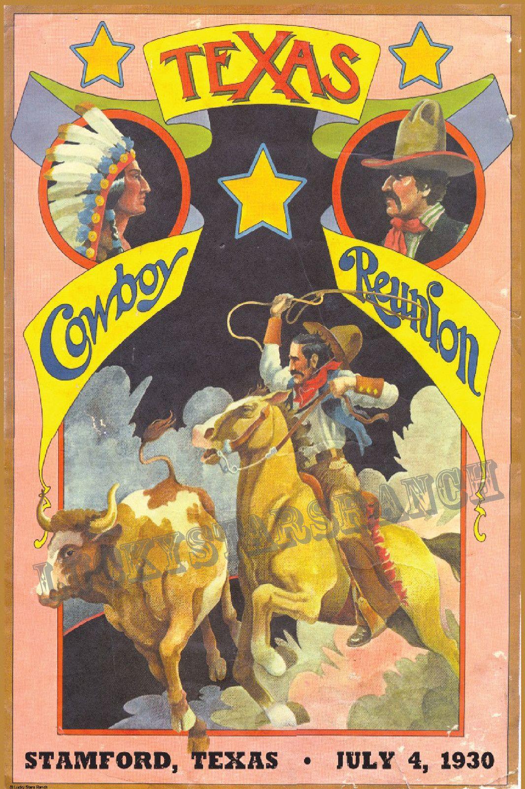 Cowboy Rodeo Poster Texas Cowboy Reunion 1930 Vintage