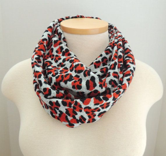 Gray Leopard Infinity Scarf - Red Black Knit - Warm Scarf - Winter ...