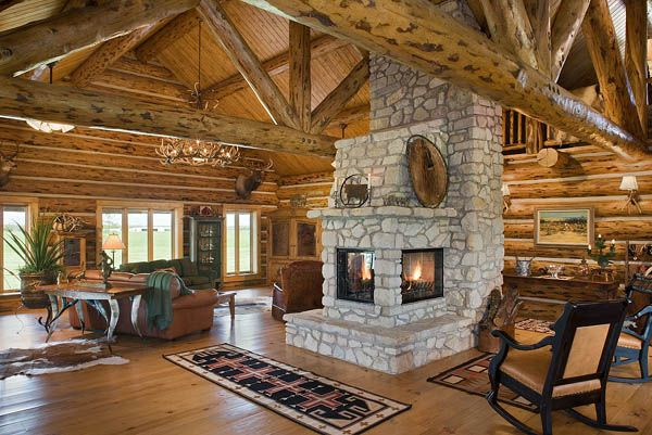 Montana log homes fireplace innenarchitektur haus - Kaminofen landhaus ...