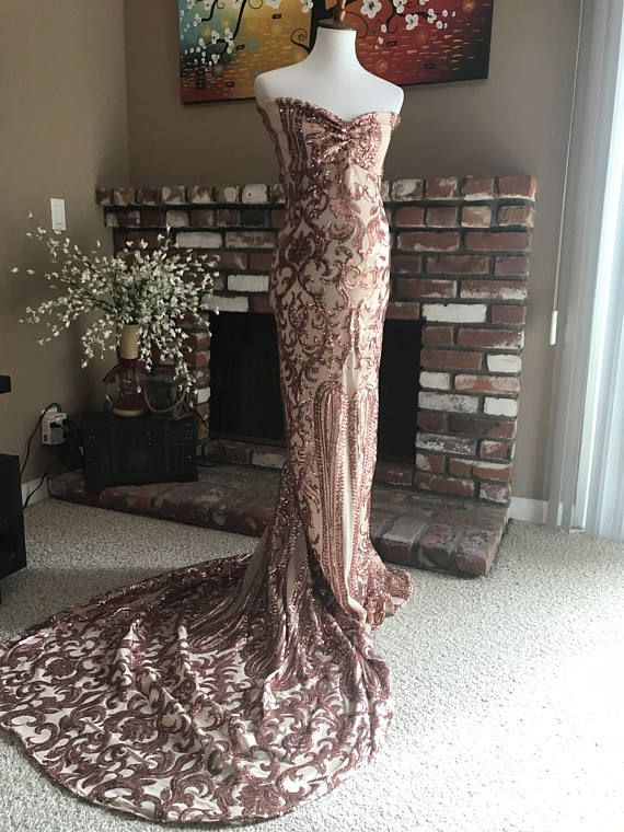 909b2a2356 Luxury rose gold sequin maternity dress