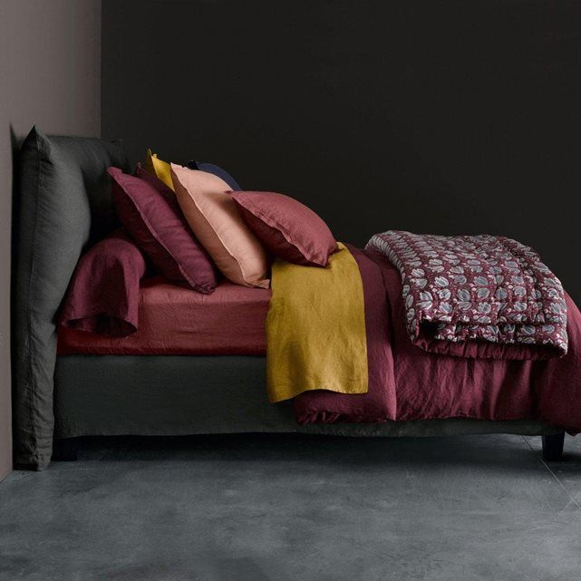 am pm linge de lit elina en lin lav am pm la redoute couleurs berry crushed berry. Black Bedroom Furniture Sets. Home Design Ideas