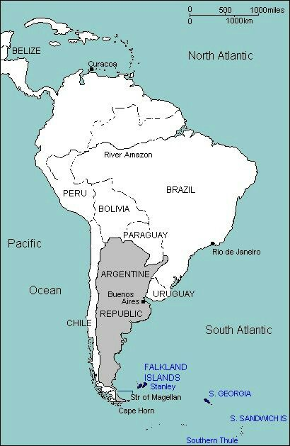 south america map falkland islands Southern Most Major Islands Of South America Map Falklands War