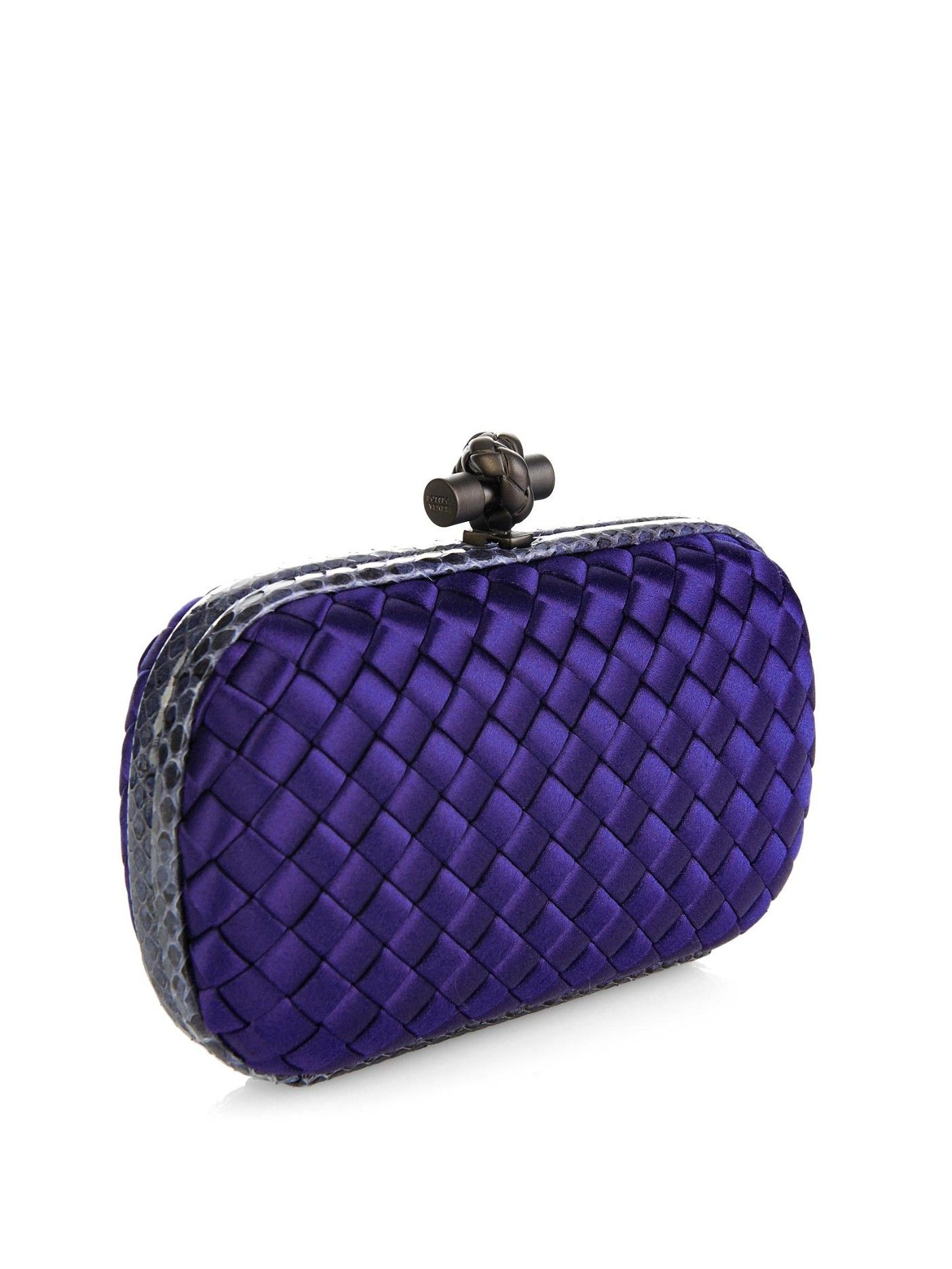 6508f7b0e3 Knot satin and water-snake clutch