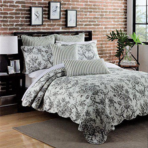 Max Studio Cotton 3 Piece Full/Queen Quilt Set Reversible Black ... : black quilted coverlet - Adamdwight.com