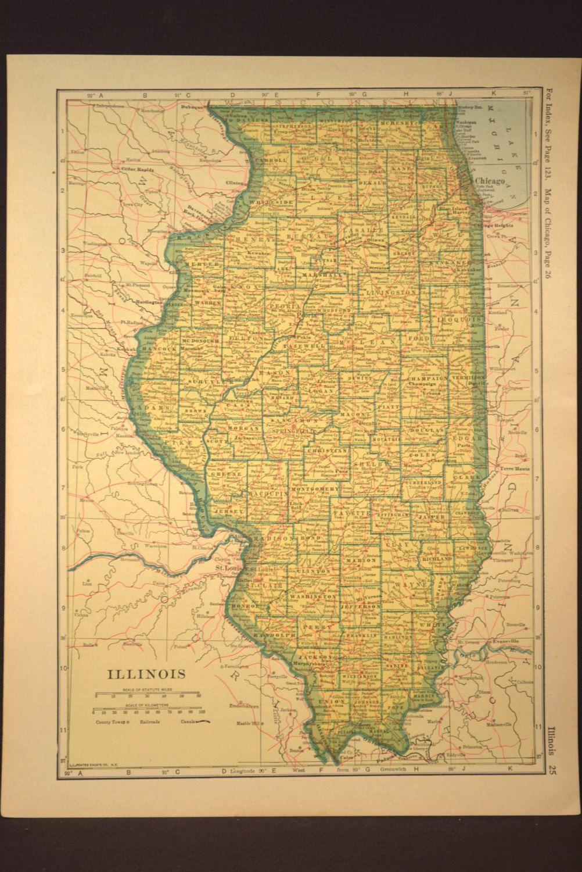 Illinois Map Illinois Railroad Antique Original 1920s Yellow | Map ...