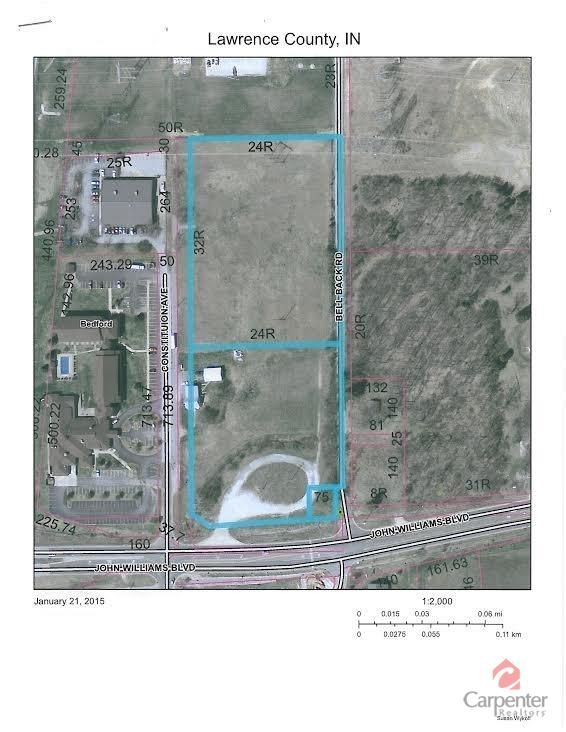 COMMERCIAL PROPERTY FOR SALE IN BEDFORD, IN! 9.43 Acres m/l in High-Traffic location. Adjacent to hotel and across street from shopping strip malls and restaurants. Zoned B-3. Visible to Hwy 37. Located approx 20 mi south of the new I-69. Priced at $600,000. Susan Wykoff-Williams Carpenter Realtors 812-275-4401.