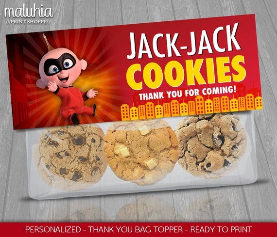 The Incredibles 2 Favor Bag Jack Jack Cookies Topper Label Disney Pixar Incredibles 2 Birthday Incredibles Birthday Party Disney Birthday Party Pixar Party