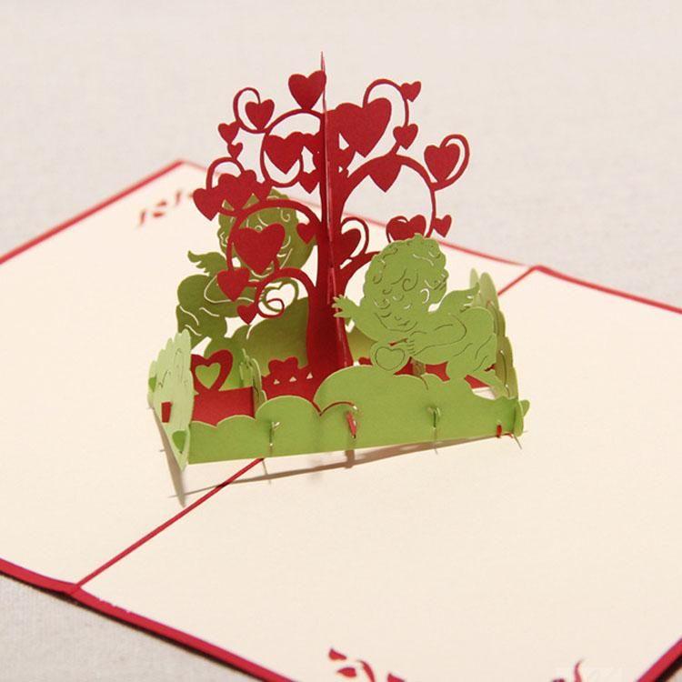 3d birthday wish tree greeting cards handmade paper sculpture creative romantic gift happy birthday invitations free shipping