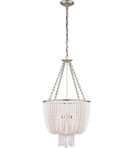 Visual Comfort ARN5102BSL-WG AERIN Jacqueline Chandelier in Burnished Silver Leaf with White Acrylic