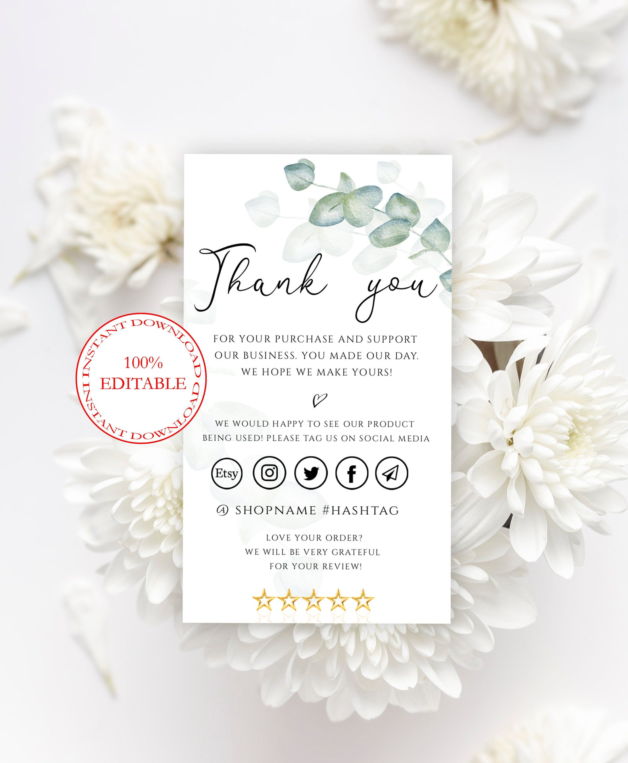 eucalyptus thank you cards template small business thank