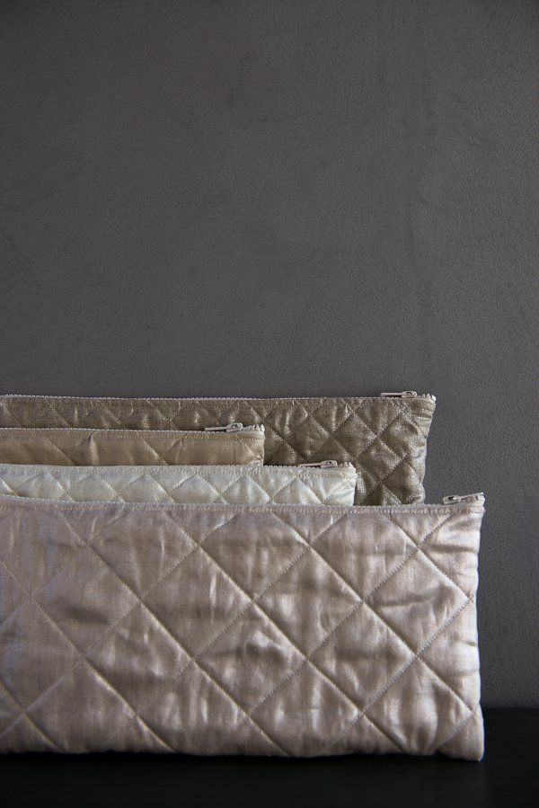 Quilted Zipper Pouches in Mineral Linen | Purl Soho | Sewing