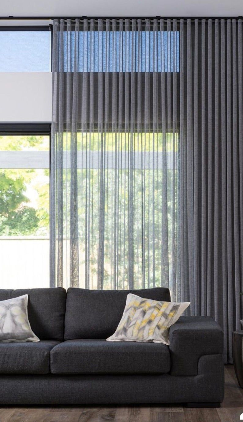 Custom Sheer Ripple Fold Drapery Panel Pulse Drapery System Gray Off White Sheer Condo Drapes Sheers Curtains Living Room Curtains Living Room Curtains With Blinds