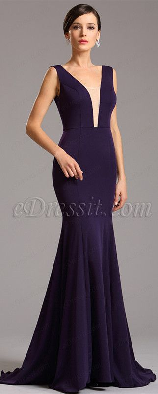 USD 99.99  Elegant Purple Formal Gown with Illusion Plunging Neck (00160806 ) 46e722452