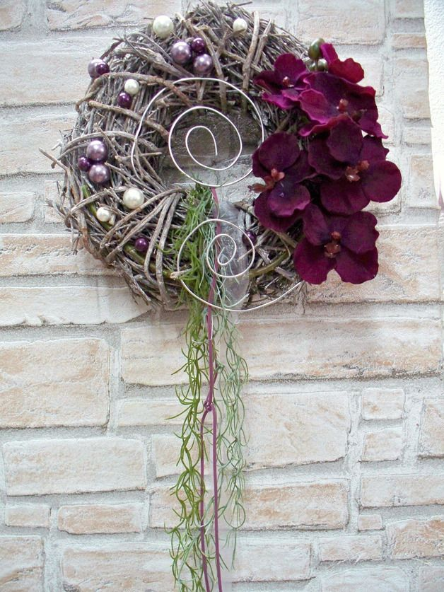 t rkr nze t rkranz mit orchidee und perlen wei lila edel ein designerst ck von die mit den. Black Bedroom Furniture Sets. Home Design Ideas