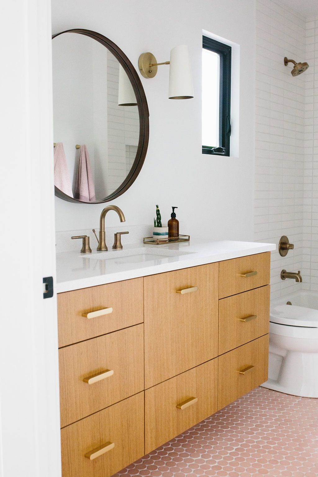 Our Austin Casa Parker And Ever S Pink Bathroom Reveal The Effortless Chic Pink Bathroom Pink Bathroom Tiles Bathroom Redecorating