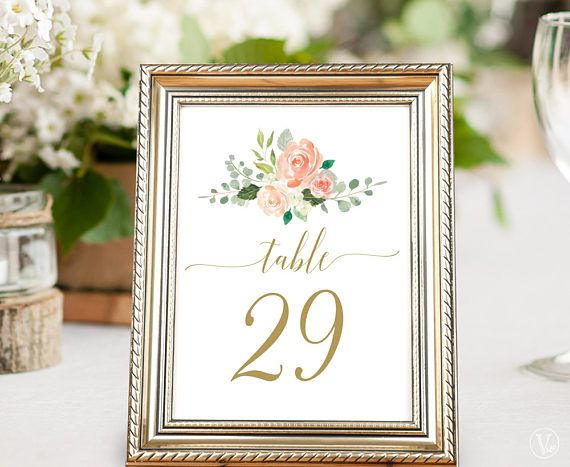 Printable Wedding Table Numbers 1–40, Peach Blush Floral Table ...