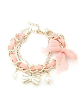 wowemall.in/fashion-jewellery/bangles-and-bracelets/crunchy-fashion-golden-bowknot-bracelet-baby-pink.html?