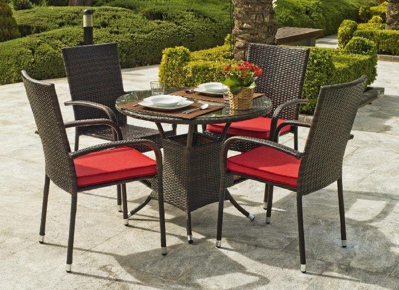 Salon de jardin résine Bergamo 4 places avec coussins rouge ...