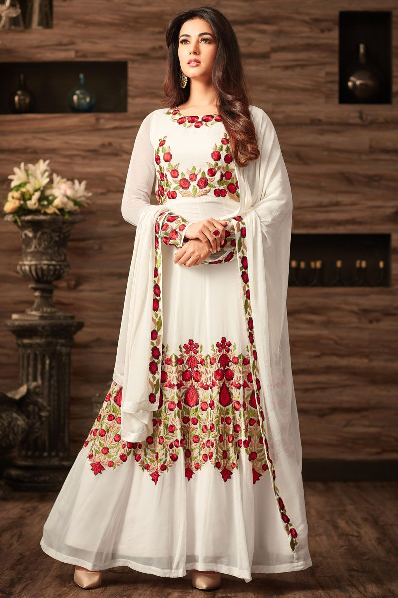 73fa4cb74e1 White Color Heavy Embroidered Party Wear Gorgeous Look Traditional  Occasionally Fashion Wedding Wear Sonal Chauhan Style Heavy Anarkali   sonalchauhan ...