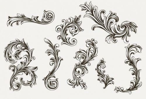Designtnt - Vector Engraved Floral Elements (с ...