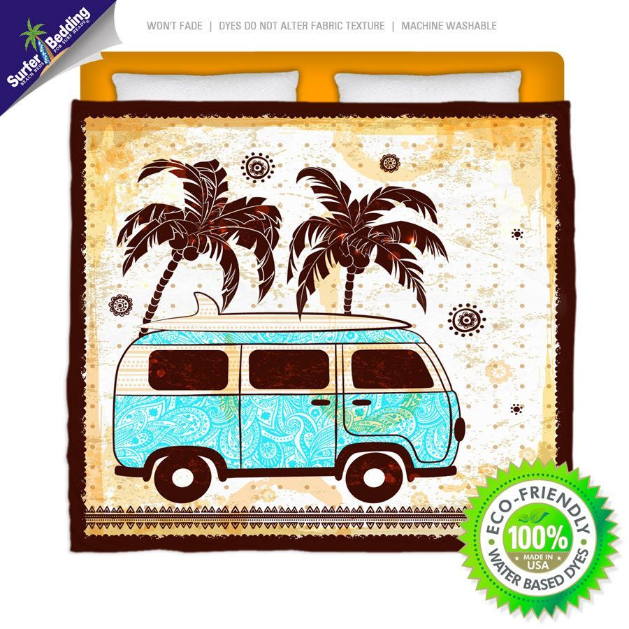 Vintage VW Surf Bus Eco Friendly & Made in USA Surfer Bedding Beach Comforter
