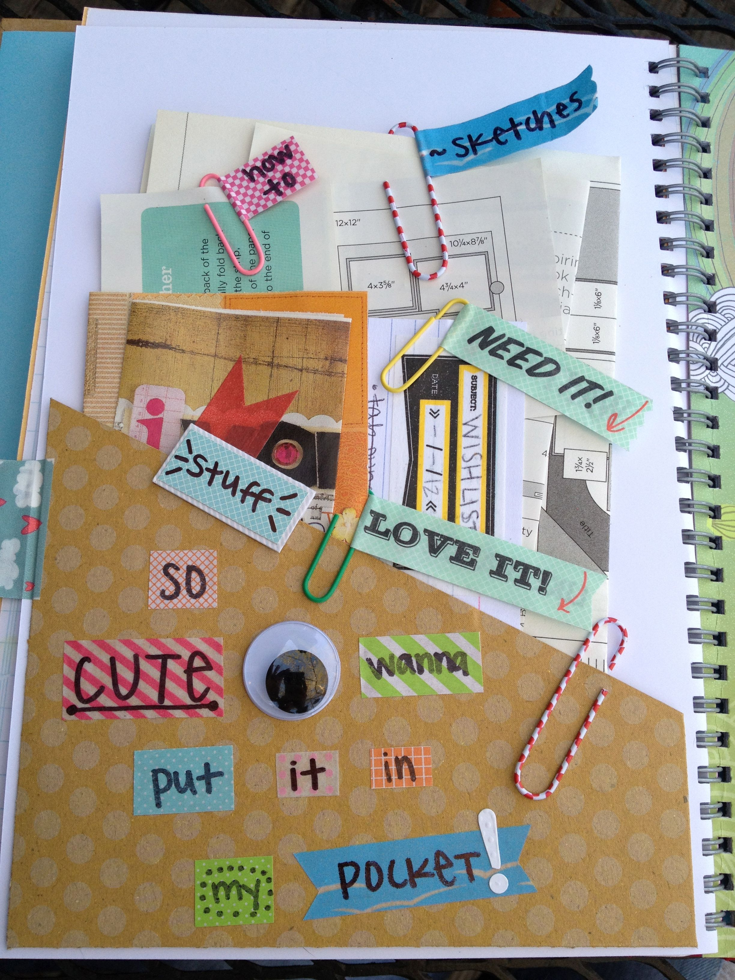 Homemade scrapbook ideas - A Homemade Version Of A Pocket That You Can Buy I Find This More Amazing Just Because Of The Handwriting And The Eye Can T Forget The Eyes