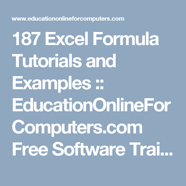 187 excel formula tutorials and examples