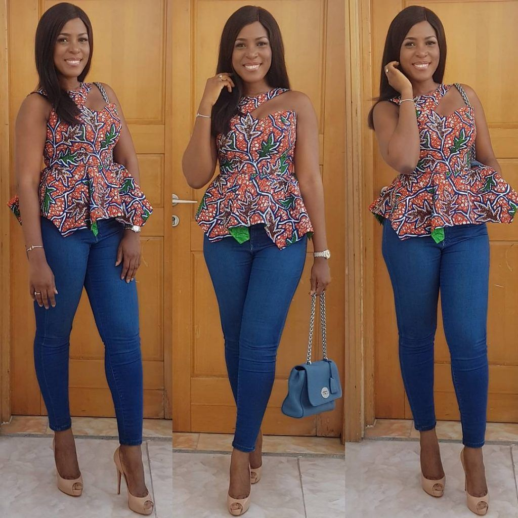 Ankara Top Styles With Jeans : Simple Ways To Rock Them